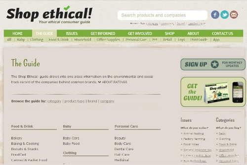 shop ethical webpage